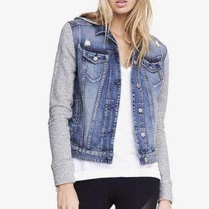 Distressed Denim Jacket w Hooded Sweatshirt Sleeve
